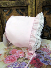 H2000 Will Beth Lace Edge Bonnet (pink or white) with embroidery 0-6m - Silicone Velvet Matting Powder