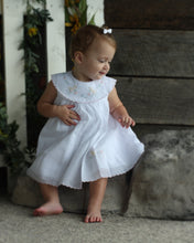 Will'Beth Beautiful White Dress with Shadow Embroidery NB & Preemie - Silicone Velvet Matting Powder