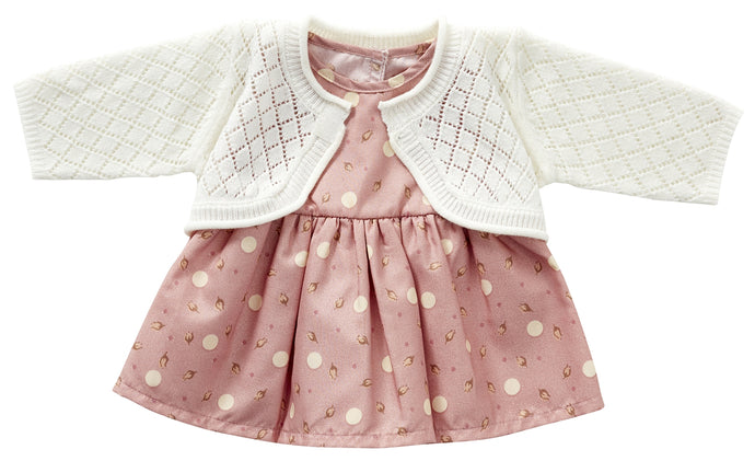 522 Dress with cardigan ( 3 doll sizes for 12 to 20 inches / 30 to 50cm)