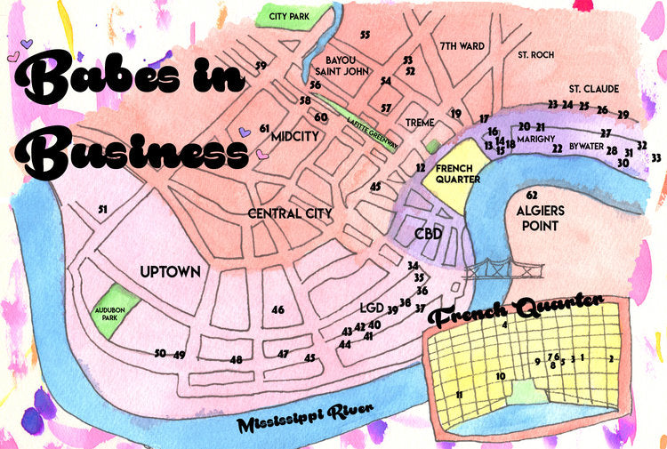 Business Directory for Women and non-binary artists, makers, and organizations. Map of shops and businesses the French Quarter in New Orleans.