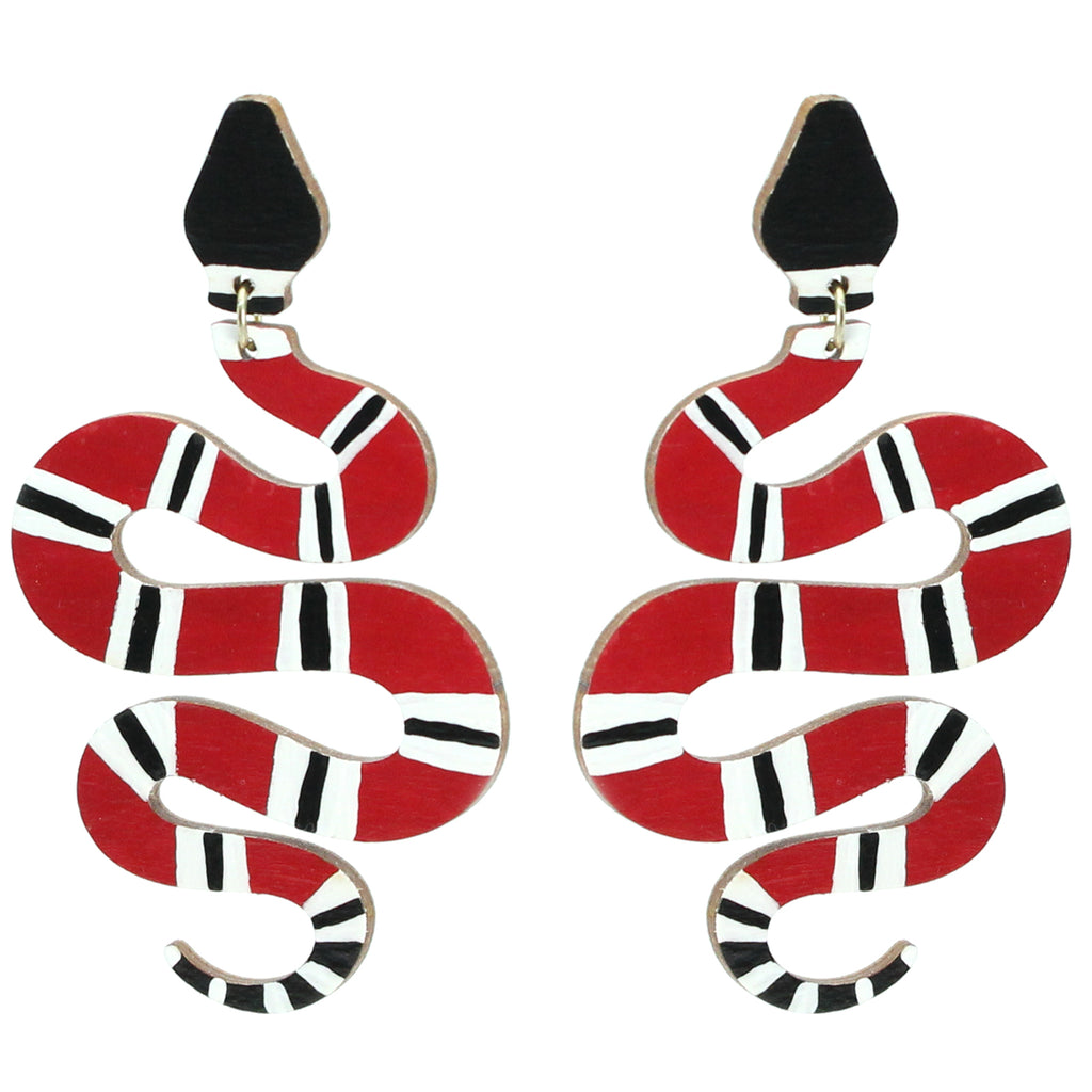 Red Black and white snake dangle earrings handmade by le chic