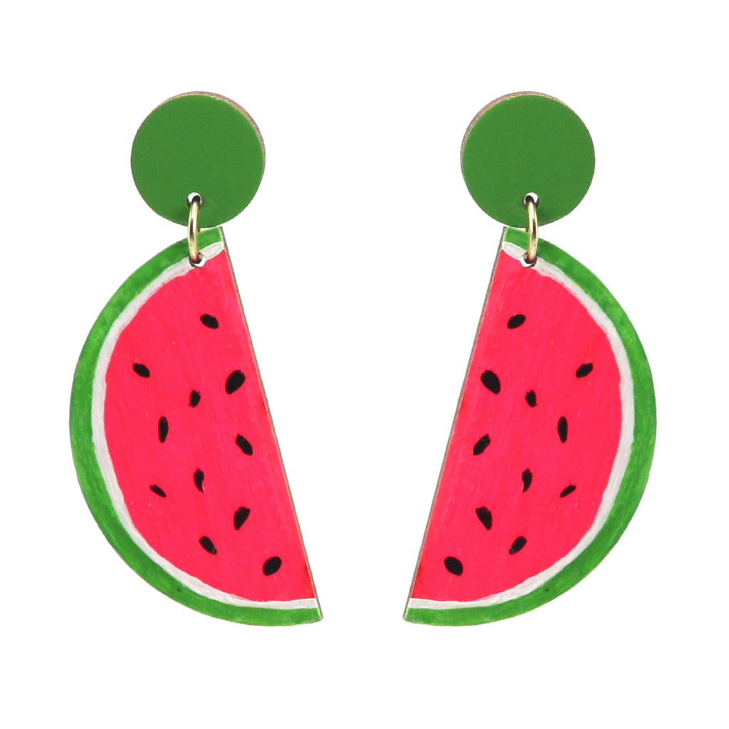 Playful watermelon dangle stud earrings laser cut and painted by Le Chic Miami