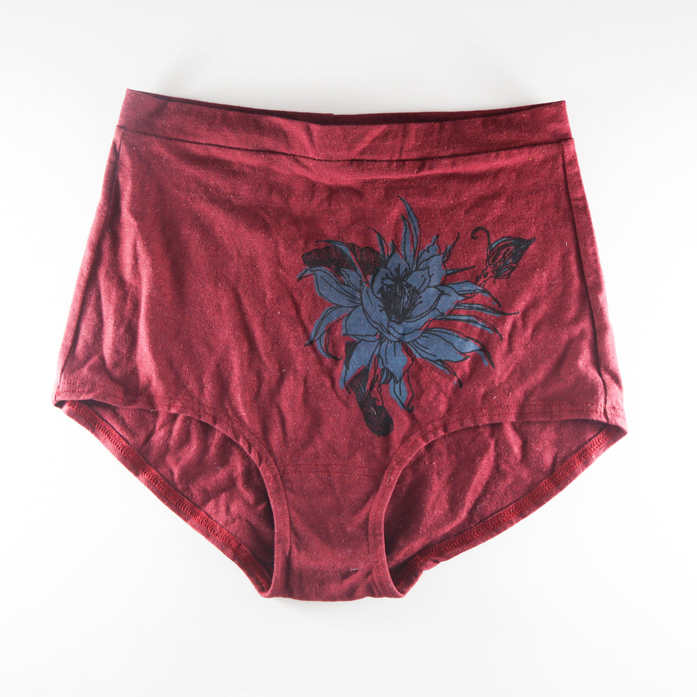 Burgundy with Blue Flower