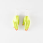 Clay Hand Earrings by Anjelica Colliard in green with orange nails