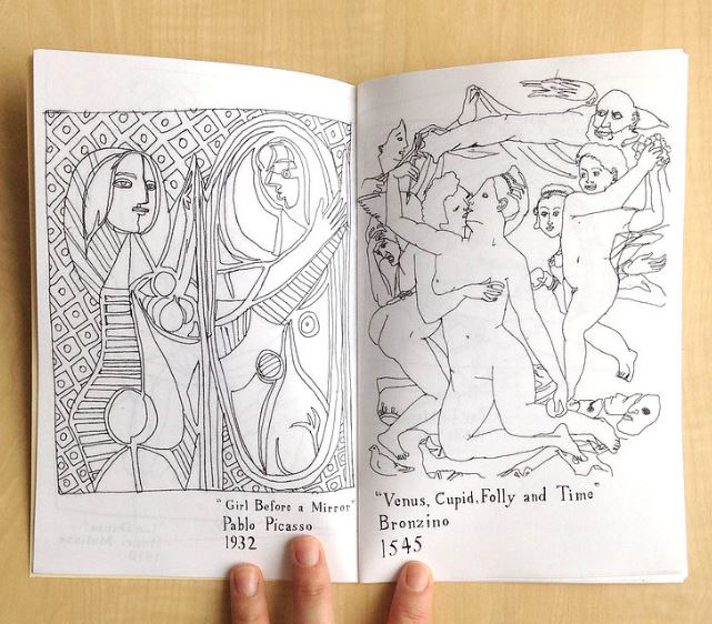 Art history coloring book by local New Orleans artist Maddie Stratton