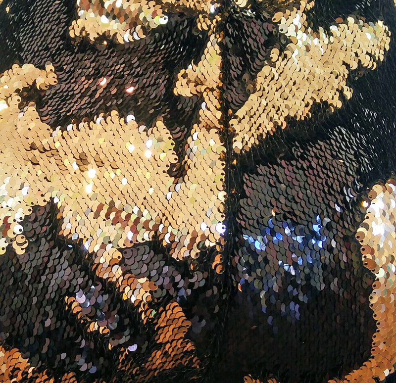 Mermaid color-changing sequin shorts by local New Orleans artist Jill Lindsay in black & gold