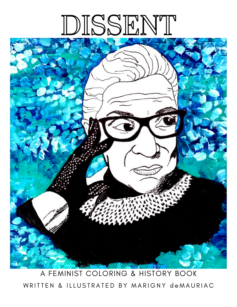 RBG Feminist coloring Book Blue