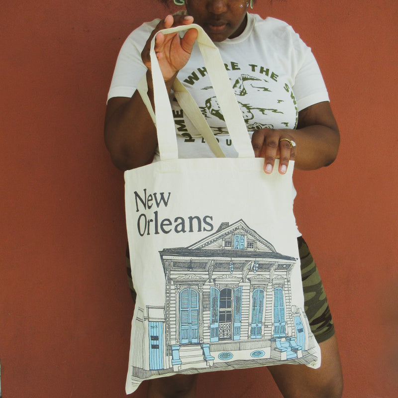 Tote Bag with New Orleans Shotgun house by Fox & Comet