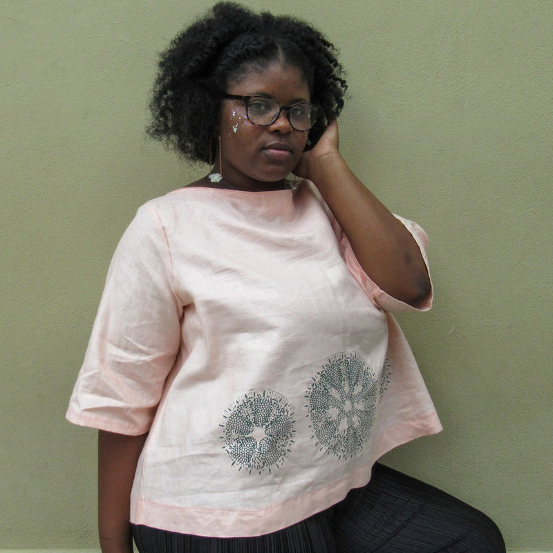 Peach Linen Top by MASUE