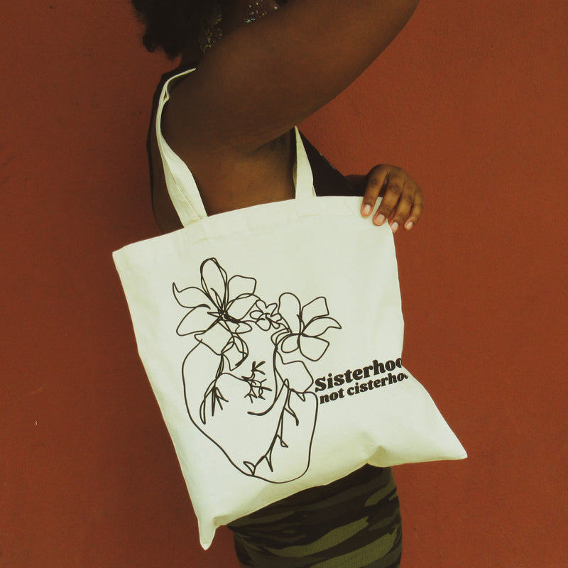 Sisterhood not cisterhood tote bag by the Glitter Box in canvas, designed by JIllian Desirée