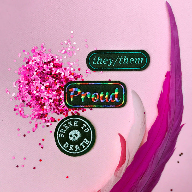 Gay pride, non-binary pronouns, and 'Fresh To Death patches by Wild Fox Medicine