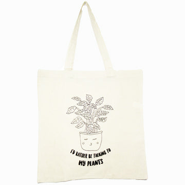 I'd Rather be talking to my plants tote bag by the glitter box girl gang in canvas