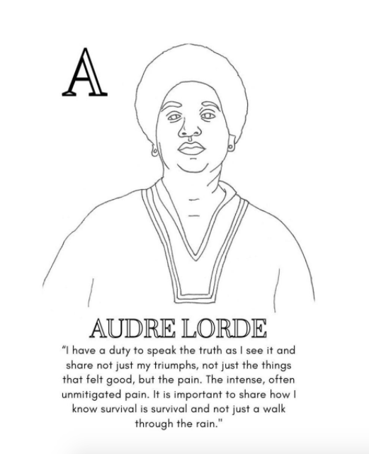 Audre Lorde Women's history coloring book
