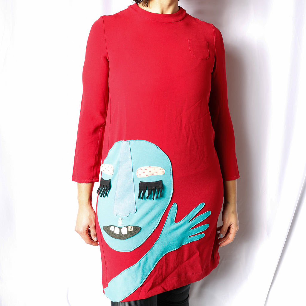 Stella G Collage Clothes All Upcyled Blue creature on red long sleeve 60s dress