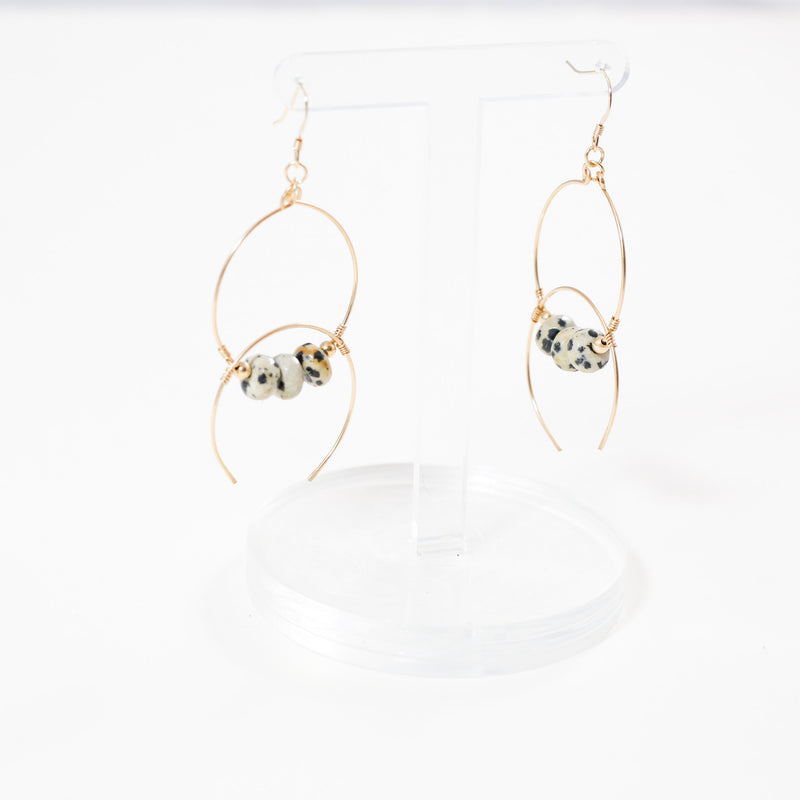 Mad Bohemia double hoop earrings with dalmatian jasper
