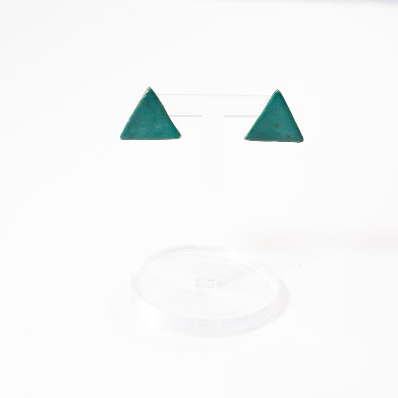Teal Triangle Ceramic Earrings By Danny Desire