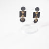 Danny Desire Ceramic Earrings in Black & Gold Luster Lines