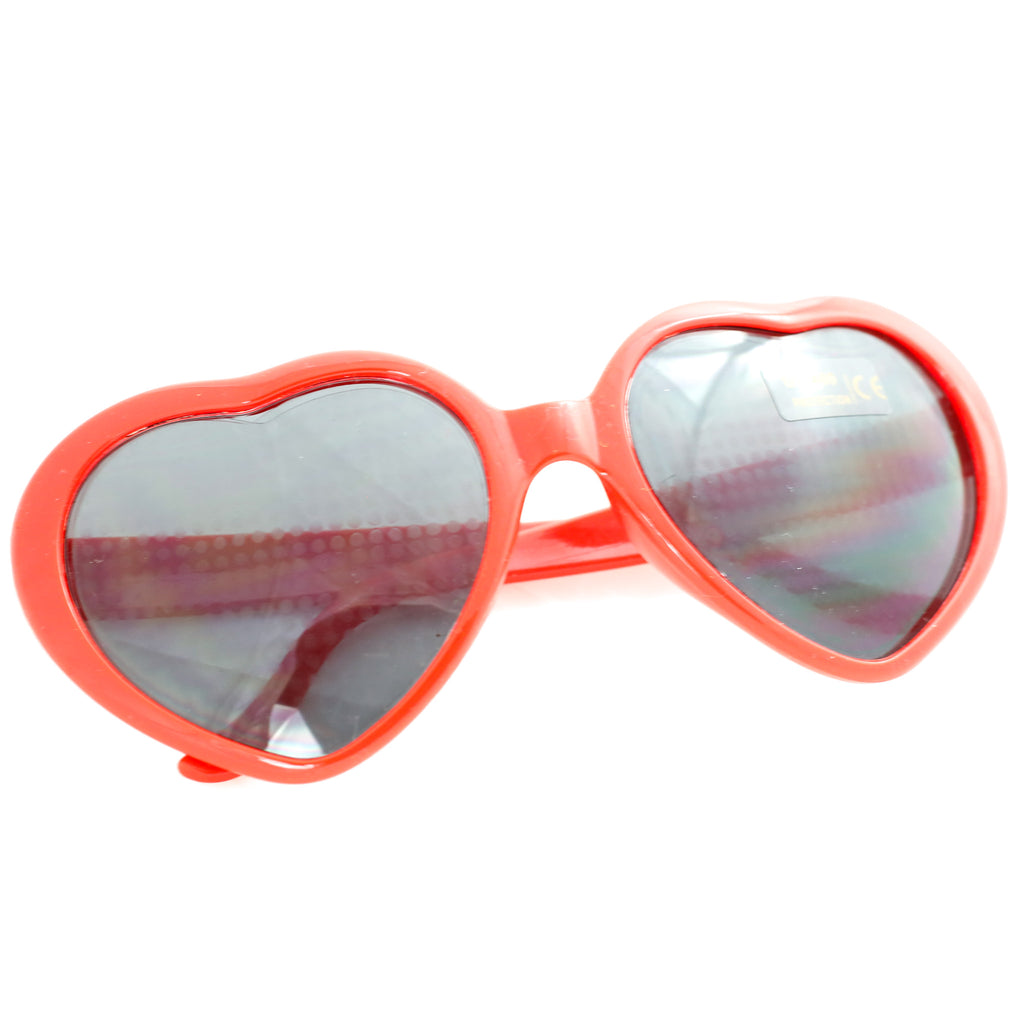 hear shaped heart light refraction glasses with a red rim