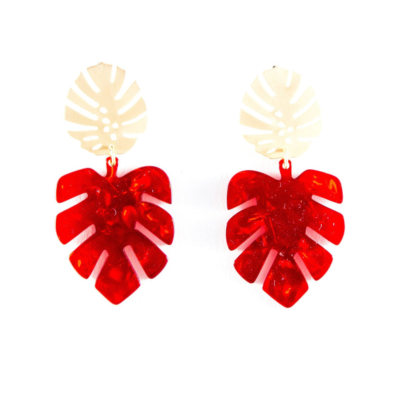 Paige (Leaf earrings) by Lux + Orleans In Red
