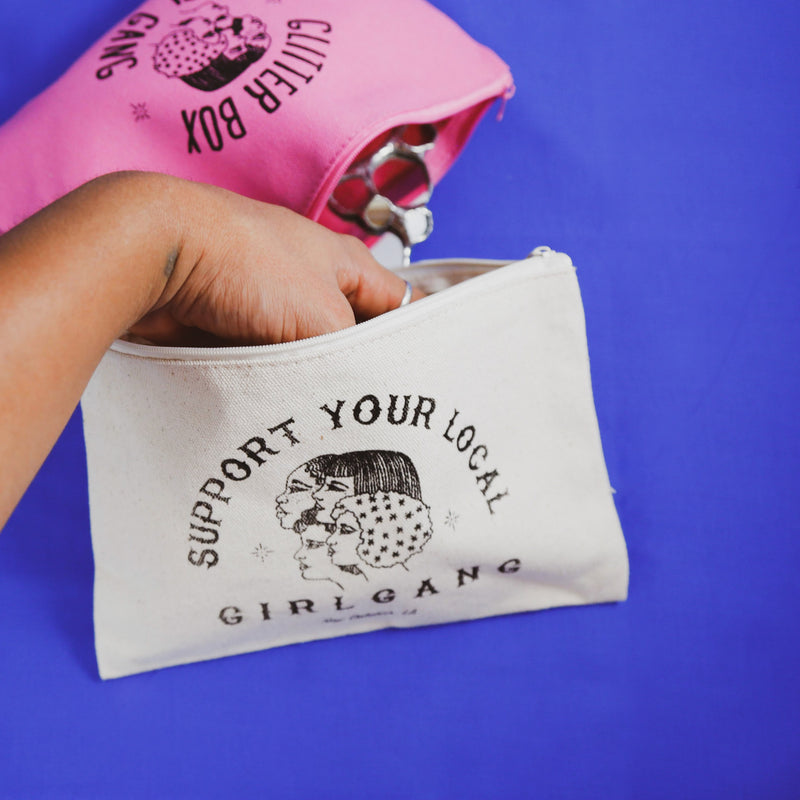 glitter box girl gang zippered pouch and support your local girl gang zipper pouch, designed by katie barroso