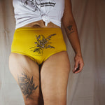 Sierra Kozman hand silksreened bloomers (high waisted undies) on model