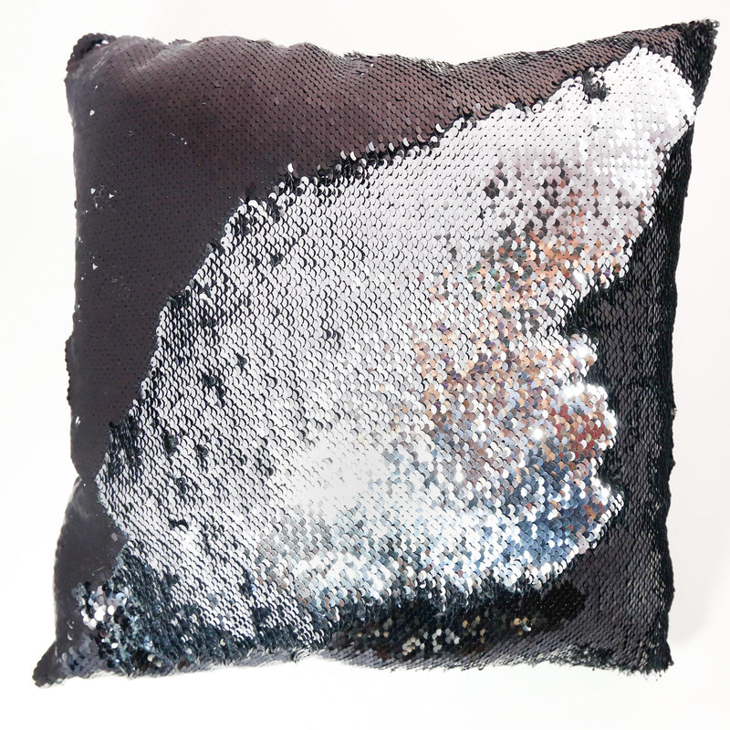 black and silver color changing sequin pillow
