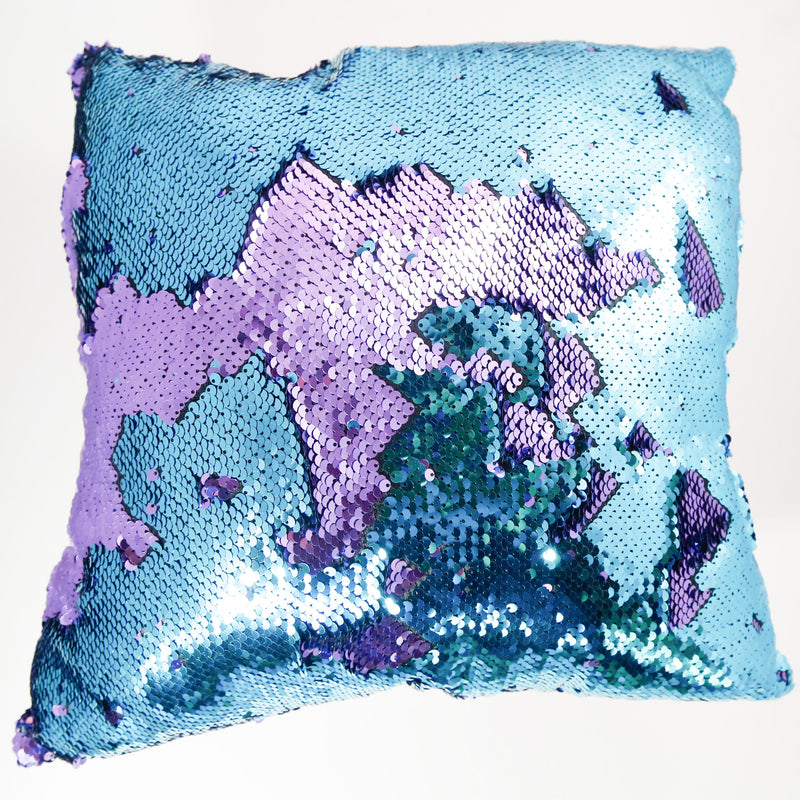lilac and teal color changing large sequin pillow