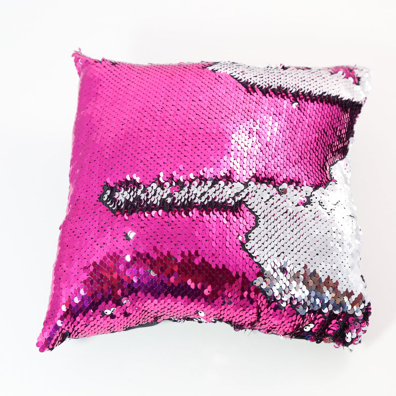 bright pink and silver color changing sequin small pillow