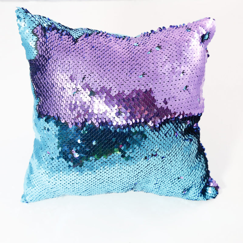 lilac and teal color changing small sequin pillow