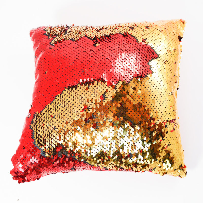 red and gold small color changing sequin pillow