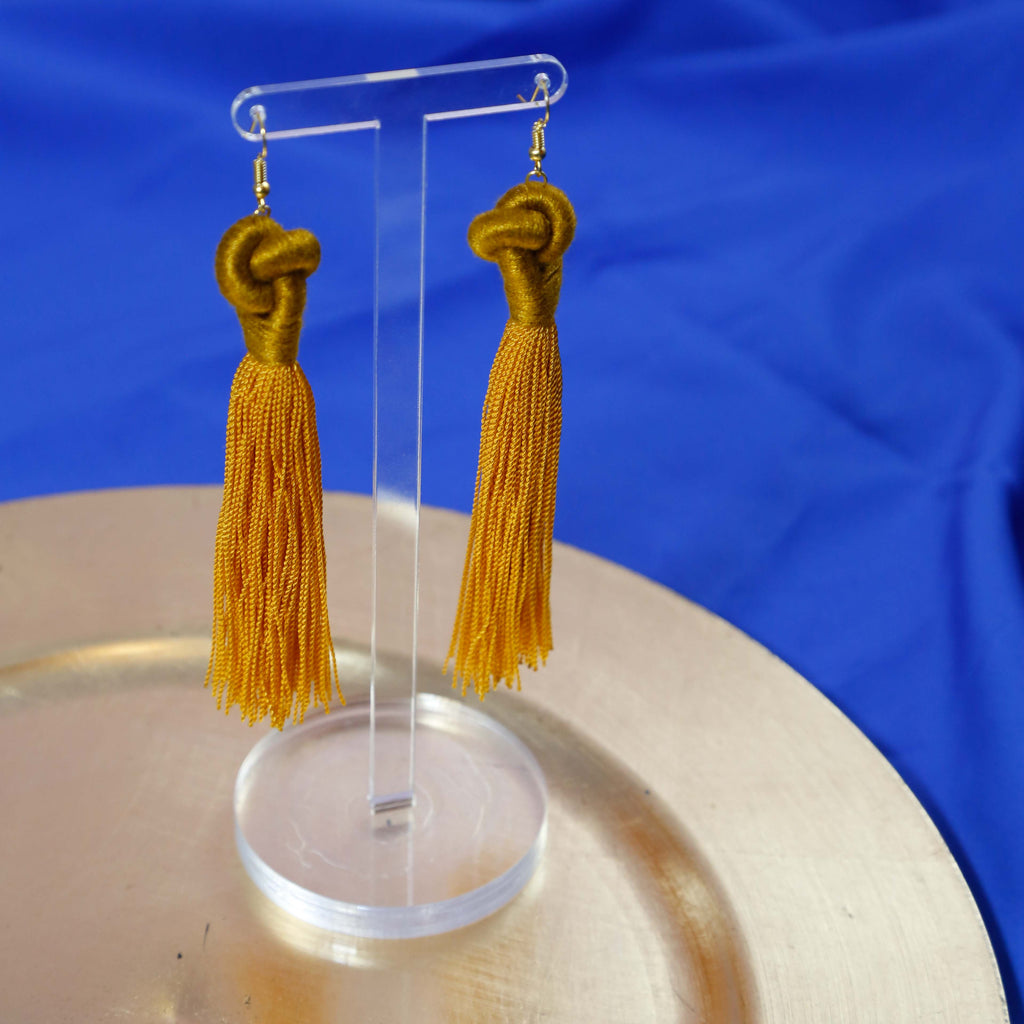 Golden Knot Tassel Earrings by Swiet Stuff