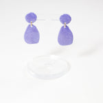 lightweight drop style porcelain earrings by danny desire in purple