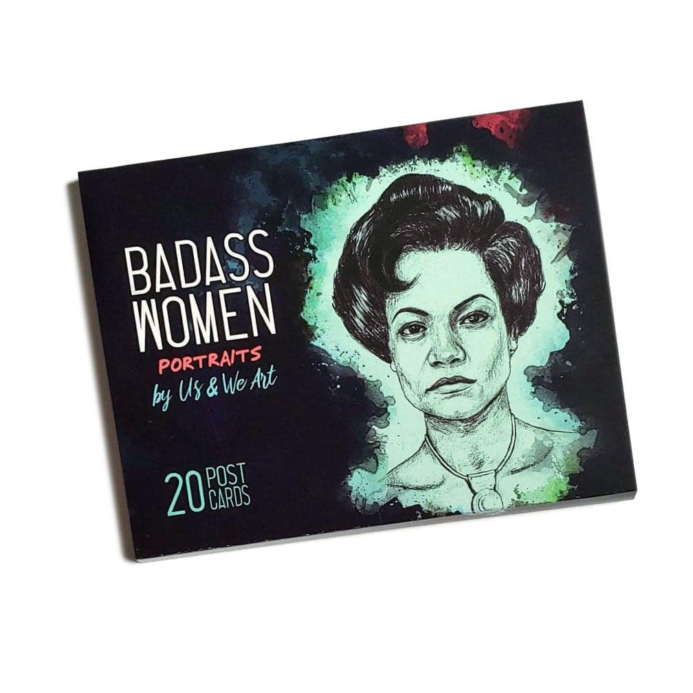 badass women post card pack cover by us and we art 20 postcard set