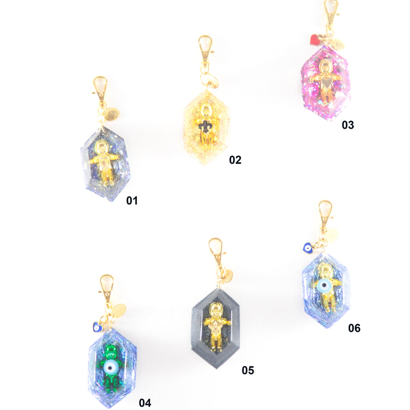 variety of keychains with king cake babies by kingcakebb