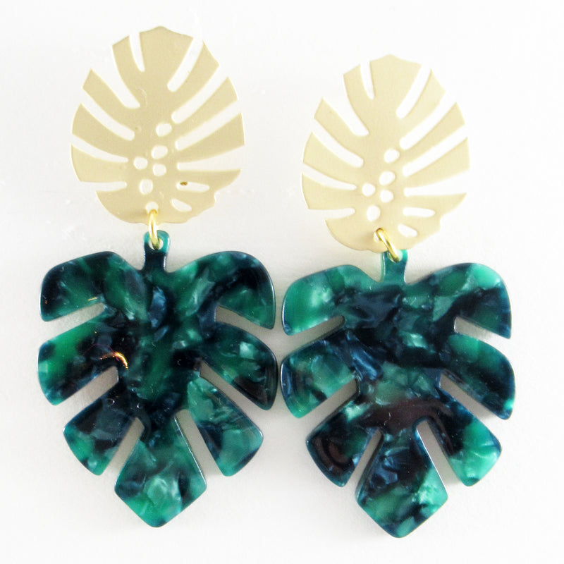 Paige (Leaf earrings) by Lux + Orleans in Green