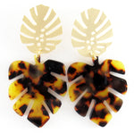 Paige (Leaf earrings) by Lux + Orleans in tortoise