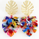 Paige (Leaf earrings) by Lux + Orleans in Rainbow