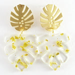 Paige (Leaf earrings) by Lux + Orleans In Clear + Gold