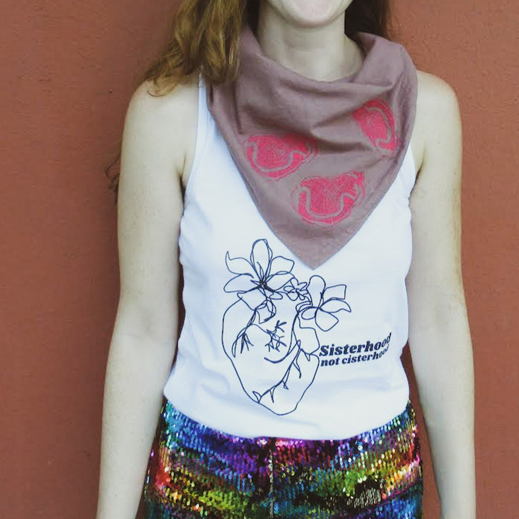 Sisterhood not cisterhood white racerback tank by Glitter Box Goods, designed by Jillian Desirée