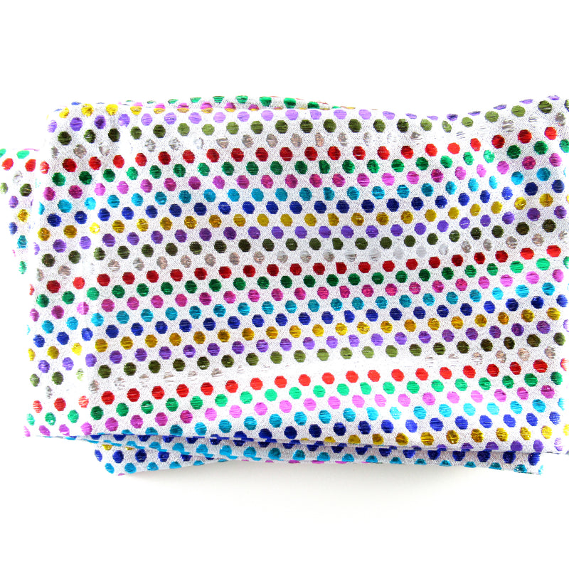 Head wraps with aluminum wire by Fringe + Co in multi colored dots
