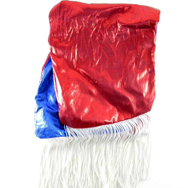 Head wraps with aluminum wire by Fringe + Co in red and blue reversible