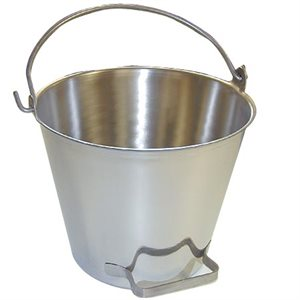 Premium Stainless Steel Pail, Vet/Milk Bucket with Side Handle, Made in USA