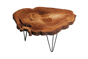 Chestnut Tree Live Edge Coffee Table, Live Edge Table, Rustic Edge End Table - Naturalist USA