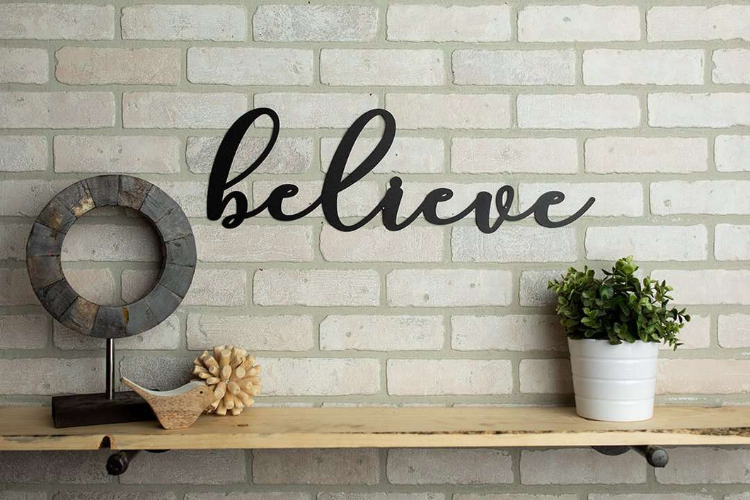 Believe Metal Sign Home Decor