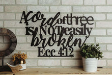 Ecc. 4:12 - A Cord of Three is Not Easily Broken Scripture Wall Art