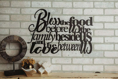 Bless the Food Before Us Metal Wall Art