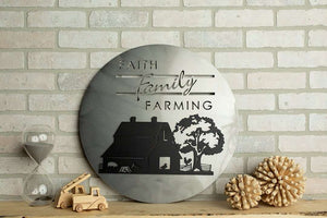 "20""x20"" Faith Family Farming Layered Metal Wall Art"