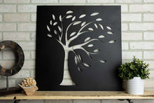 "Load image into Gallery viewer, 24x24"" Leafy Tree Wall Metal Art"