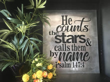 Load image into Gallery viewer, Psalm 147:4 - He Counts the Stars and Calls Them By Name Rectangular Metal Wall Art