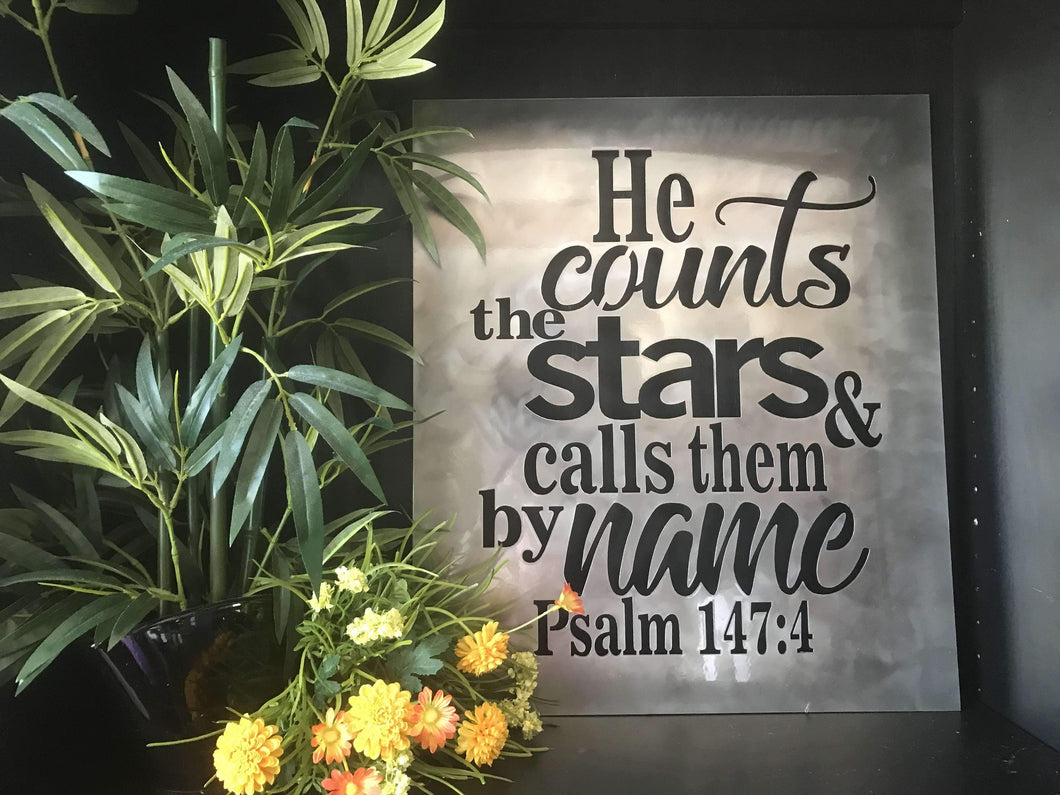 Psalm 147:4 - He Counts the Stars and Calls Them By Name Rectangular Metal Wall Art